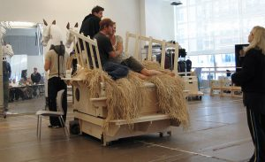 The hay blanket in rehearsal of Young Frankenstein